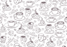 Beautiful vector seamless pattern with coffee cups and coffee beans Stock Photo