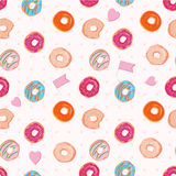 Beautiful vector seamless pattern with colorful donuts Stock Photography