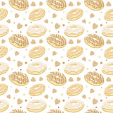 Beautiful vector seamless pattern with monochromatic sepia donut Royalty Free Stock Images