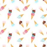 Watercolor ice cream vector pattern. Beautiful vector seamless pattern with tasty watercolor ice cream Stock Image