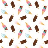 Watercolor ice cream vector pattern. Beautiful vector seamless pattern with tasty watercolor ice cream Stock Photo
