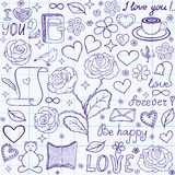 Beautiful vector seamless pattern with words of love, books and hearts, handwritten on the copybook grid paper Stock Image