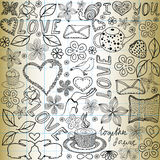Beautiful vector seamless pattern with the words of love Royalty Free Stock Photo