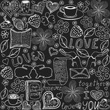 Beautiful vector seamless pattern with the words of love, kissing rabbits and hearts, `handwritten on the grey paper` Stock Photo
