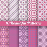 10 Beautiful vector seamless patterns (tiling). Pink, purple and white colors royalty free illustration
