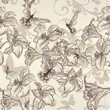Beautiful vector seamless wallpaper with lily in vintage style Stock Images
