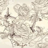 Beautiful vector seamless wallpaper with roses in vintage style Royalty Free Stock Photos