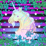 Beautiful vector unicorn over the colorful vibrant background. Highly detailed artwork isolated. Print, posters, t-shirts and text stock illustration