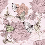 Beautiful vector wallpaper with  humingbirds in vintage style. Beautiful vector wallpaper with roses in vintage style Royalty Free Stock Photos