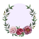 Beautiful vector watercolor frame with peonies on Stock Photos