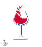 Beautiful vector wine goblet with splash, alcohol theme illustra Royalty Free Stock Photography