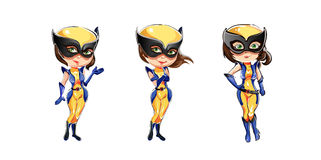 Beautiful vector wolverine woman in 3 poses Stock Photography