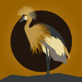 Beautiful vector young gallant shadoof. Beautiful young gallant shadoof. Cranes silhouettes against orange sun and moon Stock Photography