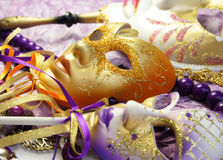 Beautiful Venetian carnival masks Stock Photos