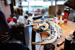 Beautiful Venetian mask, white and blue colors Royalty Free Stock Photo