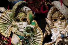 Beautiful Venetian masks background Stock Photos
