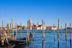 Beautiful Venice city scene. Gondola on Canal Grande with San Giorgio Maggiore church in the background as seen from San Marco, Venice, Italy stock photos