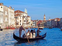 Beautiful Venice with a gondola on Canale Grande stock images