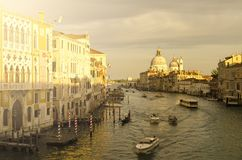 Evening venice, lights, gondolas and canal Stock Photography