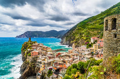 Beautiful Vernazza fisherman village at Cinque Terre, Italy Stock Image