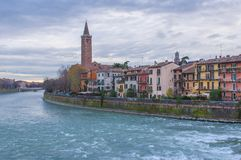 Beautiful Verona sunset, Italy. Colorful panoramic view of Verona and river Adige, Italy Stock Photography