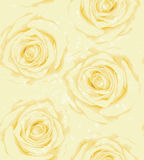 Beautiful vertical seamless background with yellow roses, sprays, drops. Royalty Free Stock Image