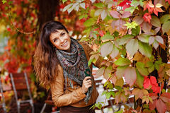 Beautiful and very charming young brunette girl with big brown e royalty free stock photography