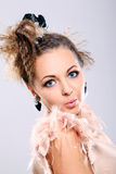 Beautiful and very cute lady with big earrings Stock Image