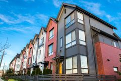 Beautiful and very modern townhouses. New development on real estate market. Beautiful and very   b modern townhouses. New development on real estate market Royalty Free Stock Images