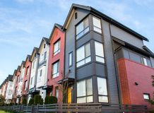 Beautiful and very modern townhouses. New development on real estate market. Beautiful very modern townhouses. New development on real estate market Stock Photos