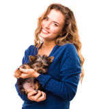 Beautiful veterinarian with dog Stock Photo