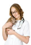 Beautiful veterinarian with puppy sharpei dog. Royalty Free Stock Photos
