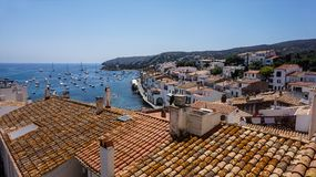 A beautiful vew of the Mediterranean sea from rooftops, Cadaques, Spain. royalty free stock photography