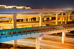 Beautiful viaduct at night Royalty Free Stock Photo