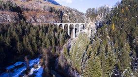 Beautiful Viaduct in Switzerland, aerial view stock photo