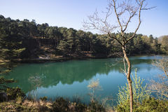 Beautiful vibrant landscape image of old clay pit quarry lake wi Royalty Free Stock Photo