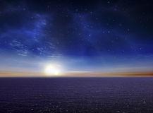 Beautiful Vibrant Ocean night sky Royalty Free Stock Photo