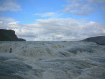 Beautiful vibrant panorama picture with a view on icelandic waterfall in iceland goddafoss gullfoss Royalty Free Stock Images
