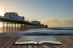 Free Beautiful Vibrant Sunrise Landscape Image Of Worthing Pier In West Sussex During Winter In Pages Of Open Book, Story Telling Royalty Free Stock Photography - 143346147