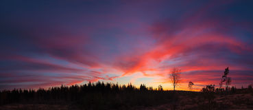Beautiful vibrant sunset clouds view landscape. In finland royalty free stock photography