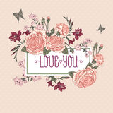 Beautiful Victorian Roses in Vintage Style for Royalty Free Stock Photos