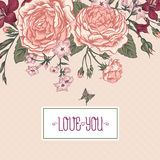Beautiful Victorian Roses in Vintage Style for Stock Photography