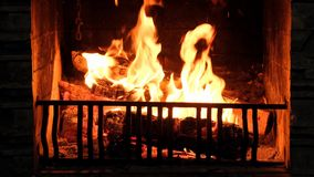 Fire in the fireplace. Beautiful video of fire in the fireplace close-up stock video footage