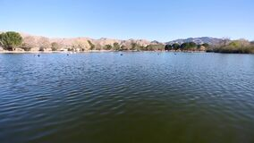 Lake Park with desert Mountain View background stock video footage
