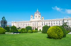 The beautiful Viennese architectures. Austria, Vienna, the Museum Palace in Theresien square Royalty Free Stock Photos