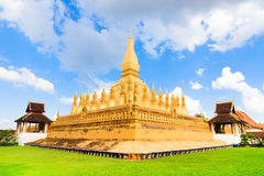 Beautiful Vientiane pagoda (Wat Pha That Luang) in sunshine day Royalty Free Stock Images