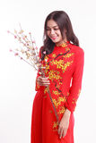 Beautiful Vietnamese woman with red ao dai holding cherry blossom Stock Photo