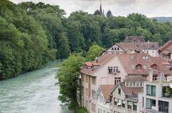 Beautiful view on Aare River at Berne - world treasure city. Switzerland stock image