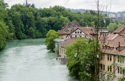 Beautiful view on Aare River at Berne - world treasure city. Switzerland stock photography
