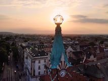 Beautiful view from above. amazing timing and angle while Sunset. photo captured in the old part of Krakow city. Poland, Europe. Drone photography. Created by royalty free stock photography